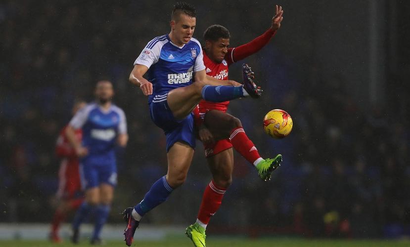 Jonas Knudsen of Ipswich v Kadeem Harris of Cardiff City